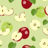 Bezszwowy wzór dojrzałe połówki i cali jabłka również zwrócić corel ilustracji wektora ilustracja wektor