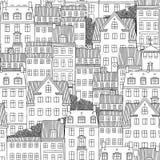 Bezszwowy wzór Duńscy stylowi domy ilustracja wektor