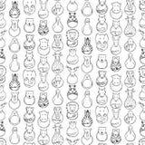Bezszwowy wzór dzieci rysować zwierzęce zabawki Fotografia Royalty Free