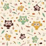 Bezszwowy wzór, dzieciaka sovyat szablon może używać dla tapety, deseniowe pełnie, strony internetowej tło, nawierzchniowe tekstu Fotografia Stock