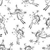 Bezszwowy wzór figlarnie latający elfy fotografia stock