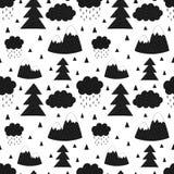 Bezszwowy wzór góry, drzewa, chmury, deszcz, choinka Wektorowi scandinavian pociągany ręcznie dzieci ilustracyjni Dla bann royalty ilustracja