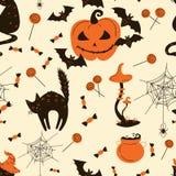 Bezszwowy wzór Halloweenowi koty i banie Ilustracji