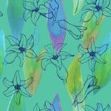 Bezszwowy wzór hiacyntowi kwiaty Obrazy Royalty Free