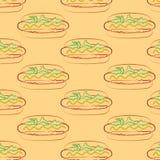 Bezszwowy wzór hot dog i filiżanka z słomą ilustracja wektor