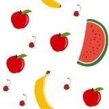Bezszwowy wzór - jabłko, arbuz, banan, wiśnia jest może projektant wektor evgeniy grafika niezależny kotelevskiy przedmiota orygi ilustracja wektor