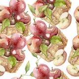 Bezszwowy wzór jabłko akwarela Obrazy Royalty Free