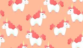 Bezszwowy wzór jednorożec na różowym tle Zdjęcie Stock