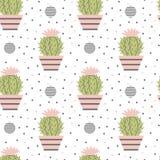 Bezszwowy wzór kaktusy Obrazy Royalty Free