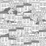 Bezszwowy wzór Kanadyjscy domy Zdjęcia Royalty Free