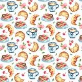 Bezszwowy wzór kanapka tort na naczyniu, filiżanka Zdjęcie Stock