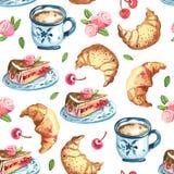 Bezszwowy wzór kanapka tort na naczyniu, filiżanka coffe Zdjęcie Stock