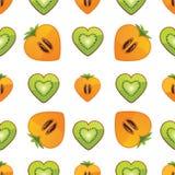 Bezszwowy wzór kiwi, persimmon w sercu Royalty Ilustracja