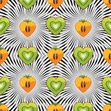 Bezszwowy wzór kiwi, persimmon w sercu z  Ilustracja Wektor