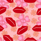 Bezszwowy wzór kochający serca i wargi walentynki ` s dzień Obraz Stock