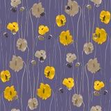 Bezszwowy wzór kolor żółty i beż kwitnie na głębokim fiołkowym tle akwarela royalty ilustracja
