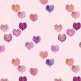 Bezszwowy wzór kolorowa ręka malujący aqua koloru serca Obraz Royalty Free