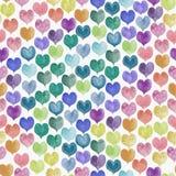 Bezszwowy wzór kolorowa ręka malujący aqua koloru serca Zdjęcia Royalty Free
