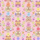 Bezszwowy wzór kolorowe sowy Zdjęcia Stock