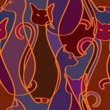 Bezszwowy wzór koty ilustracji