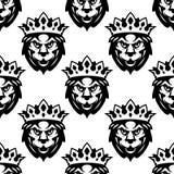 Bezszwowy wzór Królewski lew Zdjęcia Royalty Free