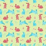 Bezszwowy wzór króliki tło barwiący Easter jajek eps8 formata czerwony tulipanu wektor beak dekoracyjnego latającego ilustracyjne ilustracja wektor