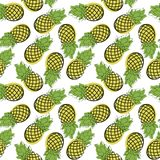 Bezszwowy wzór kreskówka ananas Patroszona owoc na biali półdupki Obrazy Stock