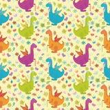 Bezszwowy wzór, kreskówka kolorowi smoki Zdjęcie Royalty Free
