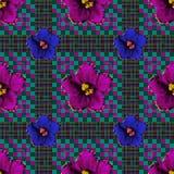 Bezszwowy wzór kwiaty i linie dla tkaniny royalty ilustracja