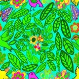 Bezszwowy wzór kwitnie ptaka i motyla Zdjęcia Royalty Free