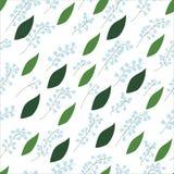 Bezszwowy wzór leluja dolin sprigs z liśćmi na białym tle Zdjęcie Royalty Free