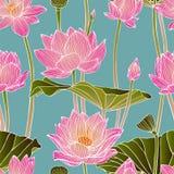 Bezszwowy wzór - lotosowi kwiaty ilustracja wektor