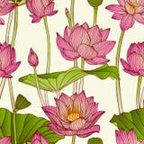 Bezszwowy wzór - lotosowi kwiaty Fotografia Stock