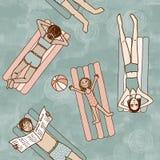 Bezszwowy wzór ludzie w basenie royalty ilustracja