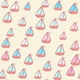 Bezszwowy wzór malujący statki ilustracja wektor