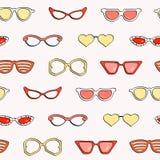 Bezszwowy wzór, moda odizolowywał okulary przeciwsłonecznych ustawiających Obrazy Stock