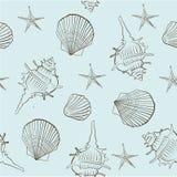 Bezszwowy wzór morze łuska na lekkim turkusowym tle Fotografia Stock