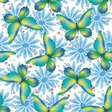 Bezszwowy wzór, motyle i kwiaty, Zdjęcie Royalty Free