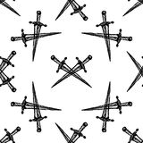 Bezszwowy wzór na białym tle Krzyżujący kordziki royalty ilustracja