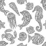 Bezszwowy wzór na morskim temacie Zdjęcia Royalty Free