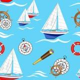 Bezszwowy wzór na morskim temacie i żaglówkach również zwrócić corel ilustracji wektora royalty ilustracja