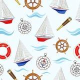 Bezszwowy wzór na morskim temacie z żaglówkami również zwrócić corel ilustracji wektora ilustracji