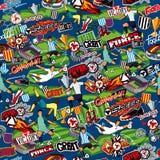 Bezszwowy wzór na temacie futbol Futbol atrybuty, futbolowe postacie różnorodne drużyny na błękitnym tle royalty ilustracja