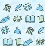Bezszwowy wzór na temacie szkoła i edukacja ilustracja wektor