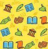 Bezszwowy wzór na temacie szkoła i edukacja royalty ilustracja