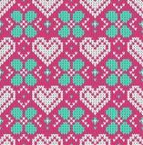 Bezszwowy wzór na temacie wakacyjny walentynki ` s dzień z wizerunkiem norwegu i fairisle wzory Biali serca na p ilustracji