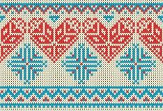 Bezszwowy wzór na temacie wakacyjny walentynki ` s dzień z wizerunkiem norwegu i fairisle wzory Czerwony serce, turquois royalty ilustracja