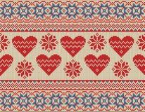 Bezszwowy wzór na temacie walentynka dzień z wizerunkiem norwegów serca i wzory Wełna dziająca royalty ilustracja