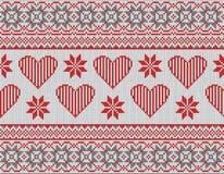 Bezszwowy wzór na temacie walentynka dzień z wizerunkiem norwegów serca i wzory Wełna dziająca ilustracji