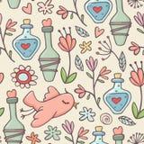 Bezszwowy wzór, napoje miłośni, ptaki, kwiaty, kolor żółty Obrazy Stock